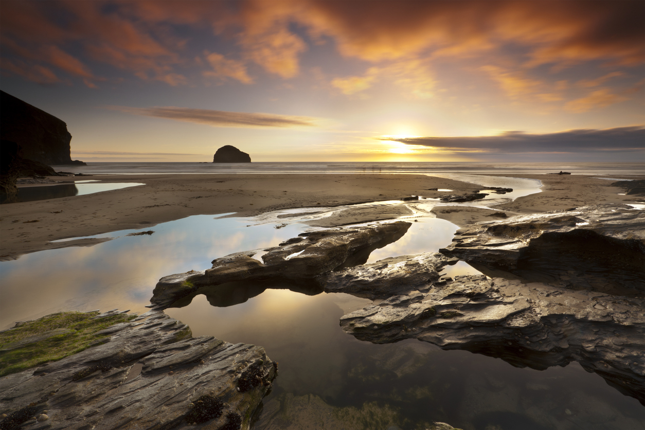 Sunset over Trebarwith Strand, Cornwall, U.K